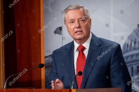 United States Senator Lindsey Graham (Republican of South Carolina) holds a press conference regarding President Joe Biden's plan to withdraw U.S. troops from Afghanistan, at the U.S. Capitol in Washington, DC,.