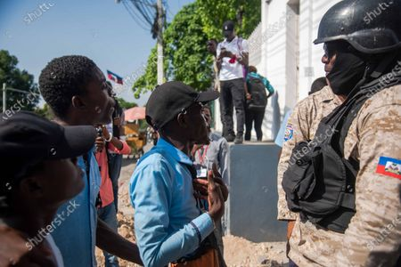 Students participate in a protest in Port-au-Prince, Haiti, 14 April 2021. This morning Prime Minister of Haiti, Joseph Jouthe, resigned and this has left President Jovenel Moise isolated to face a serious wave of violence and the political crisis that has confronted the President with many sectors of society.