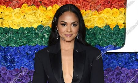 """Karen Olivo arrives at the 73rd annual Tony Awards on June 9, 2019, in New York. The Tony Award-winner says she won't return to """"Moulin Rouge! The Musical"""" once it reopens, saying she's frustrated by the Broadway industry and especially the silence in the wake of revelations about the behavior of producer Scott Rudin. The musical is not produced by Rudin but Olivo in an Instagram video posted, said she was not coming back to the show to make a stand about social justice"""