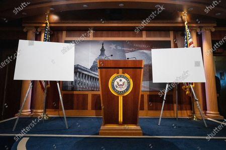 The Senate Studio ahead of a press conference with Sen. Lindsey Graham (R-SC) on Capitol Hill on Wednesday, April 14, 2021 in Washington, DC. (Kent Nishimura / Los Angeles Times)