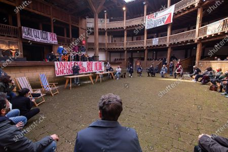 Stock Photo of Minister of Culture Dario Franceschini during public assembly organized by the entertainment workers who occupied the Globe Theater in Rome