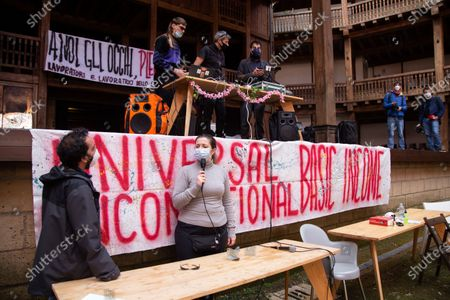 Public assembly organized by entertainment workers who occupied Globe Theater in Rome this morning