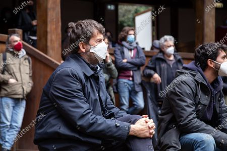Minister of Culture Dario Franceschini during public assembly organized by the entertainment workers who occupied the Globe Theater in Rome