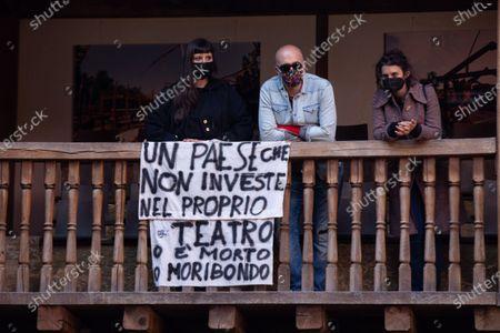 Editorial image of Dario Franceschini at Globe Theater occupied, Rome, Italy - 14 Apr 2021