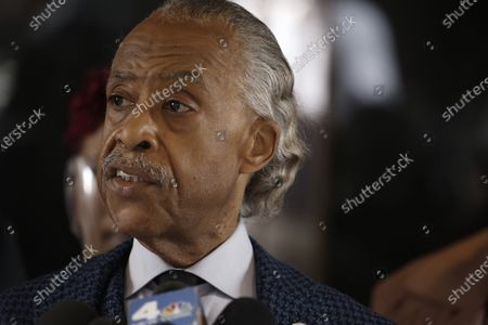 Reverend Al Sharpton speaks at a press conference in Midtown Manhattan during the National Action Network convention.  In attendance are the mothers of men killed by police. Lesley McSpadden, mother of Michael Brown, Gwen Carr, mother of Eric Garner, Sybrina Fulton, mother of Trayvon Martin and Sequette Clark, mother of Stephon Clark.