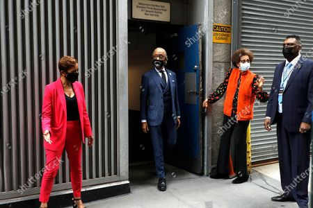 Reverend Al Sharpton arrives at a press conference in Midtown Manhattan during the National Action Network convention.  In attendance are the mothers of men killed by police. Lesley McSpadden, mother of Michael Brown, Gwen Carr, mother of Eric Garner, Sybrina Fulton, mother of Trayvon Martin and Sequette Clark, mother of Stephon Clark.
