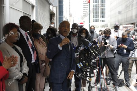 Reverend Al Sharpton and attorney Ben Crump who represent the family of Daunte Wright attend a press conference in Midtown Manhattan during the National Action Network convention.  In attendance are the mothers of men killed by police. Lesley McSpadden, mother of Michael Brown, Gwen Carr, mother of Eric Garner, Sybrina Fulton, mother of Trayvon Martin and Sequette Clark, mother of Stephon Clark.