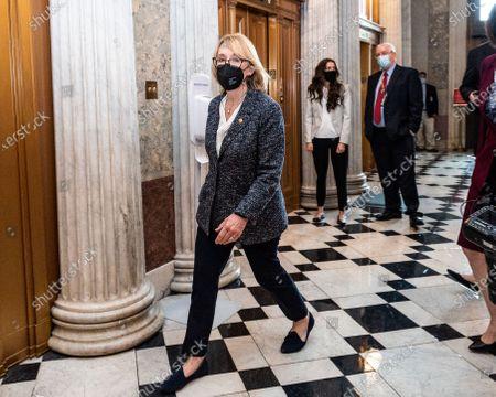 U.S. Senator Maggie Hassan (D-NH) walking near the Senate Chamber.