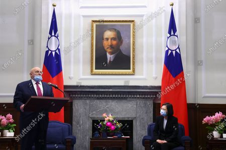 Former US Deputy Secretary of State Richard Armitage (L) speaks at a meeting with Taiwan President Tsai Ing-wen (R) at the presidential office in Taipei, Taiwan, 15 April 2021.