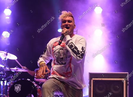 Jordan Pundik of New Found Glory performs at the Old School Square Pavilion, Delray Beach