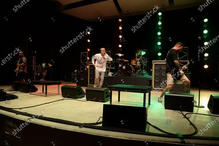 Stock Image of Ian Grushka, Jordan Pundik, Cyrus Bolooki and Chad Gilbert of New Found Glory perform at the Old School Square Pavilion, Delray Beach