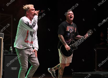 Jordan Pundik and Chad Gilbert of New Found Glory perform at the Old School Square Pavilion, Delray Beach