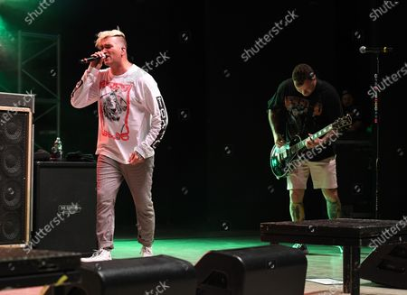 Stock Picture of Jordan Pundik and Chad Gilbert of New Found Glory perform at the Old School Square Pavilion, Delray Beach