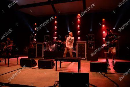 Ian Grushka, Jordan Pundik, Cyrus Bolooki and Chad Gilbert of New Found Glory perform at the Old School Square Pavilion, Delray Beach