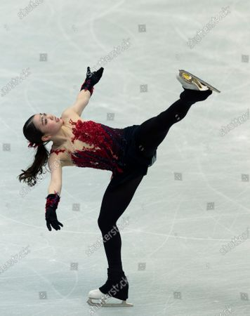Japan's Rika Kihira performs during the women's short program of the ISU World Team Trophy figure skating competition in Osaka, western Japan