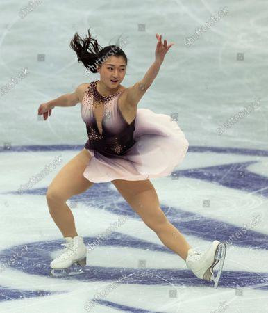 Japan's Kaori Sakamoto performs during the women's short program of the ISU World Team Trophy figure skating competition in Osaka, western Japan