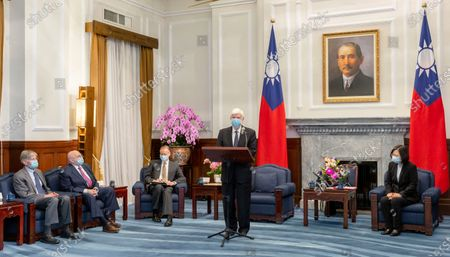"""Stock Photo of In this photo released by the Taiwan Presidential Office, former U.S. senator Chris Dodd speaks near former U.S. Deputies Secretary of State Richard Armitage and James Steinberg as Taiwan President Tsai Ing-wen, right, listens on during a meeting in Taipei, Taiwan on . Taiwan's president and an unofficial delegation of former senior U.S. government officials sent by President Joe Biden reaffirmed """"rock solid"""" U.S.-Taiwan ties, amid heightened tensions with China"""
