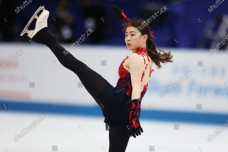 Rika Kihira (JPN) - Figure Skating :  ISU World Team Trophy in Figure Skating 2021  Women's Practice  at Maruzen Intec Arena Osaka, Osaka, Japan.