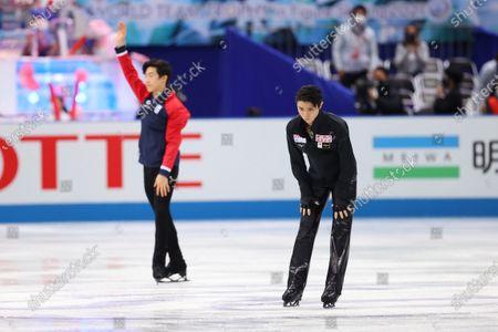 (L to R)  Nathan Chen (USA),  Yuzuru Hanyu (JPN) - Figure Skating :  ISU World Team Trophy in Figure Skating 2021  Men's Short Program  at Maruzen Intec Arena Osaka, Osaka, Japan.