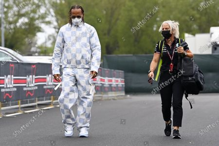 Stock Picture of Sir Lewis Hamilton, Mercedes, and Angela Cullen, Physio for Lewis Hamilton, arrives at the track during the 2021 Formula One Emilia Romagna Grand Prix