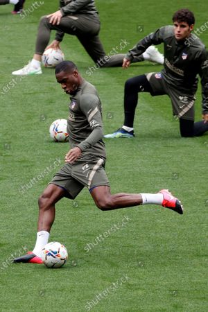 Atletico Madrid's French midfielder Geoffrey Kondogbia attends a training session at Wanda Sports City in Majadahonda, Madrid, Spain, 15 April 2021. Atletico Madrid will face SD Eibar on 18 April in Spanish LaLiga fixture.