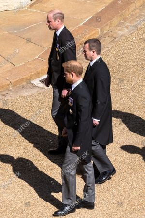 Prince WIlliam, Prince Harry and Peter Phillips