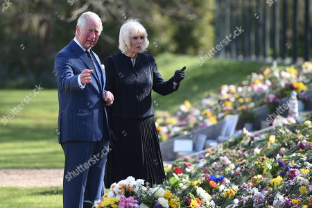 Editorial photo of Prince Charles and Camilla Duchess of Cornwall visit the gardens of Marlborough House, London, UK - 15 Apr 2021