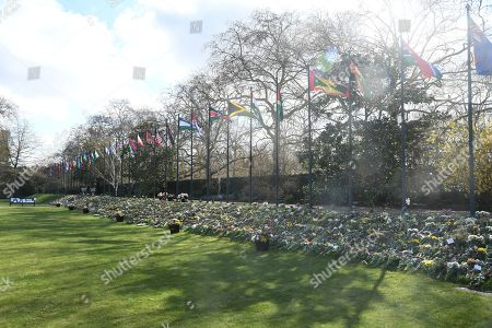 The flowers, tributes and messages left by members of the public outside Buckingham Palace following the death of the Duke of Edinburgh on display in the gardens of Marlborough House, London, during a visit by the Prince of Wales and the Duchess of Cornwall.