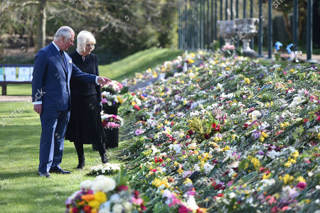 Prince Charles and Camilla Duchess of Cornwall visit the gardens of Marlborough House, London