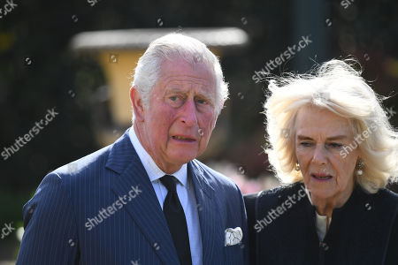 Prince Charles and Camilla Duchess of Cornwall visit the gardens of Marlborough House, London, to view the flowers and messages left by members of the public outside Buckingham Palace following the death of the Duke of Edinburgh on April 10.