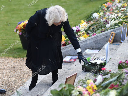 Camilla Duchess of Cornwall visits the gardens of Marlborough House, London, to view the flowers and messages left by members of the public outside Buckingham Palace following the death of the Duke of Edinburgh on April 10.