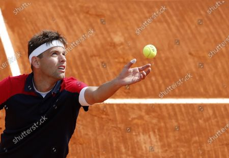 Filip Krajinovic of Serbia in action during his third round match against Fabio Fognini of Italy at the Monte-Carlo Rolex Masters tournament in Roquebrune Cap Martin, France, 15 April 2021.