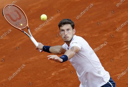 Pablo Carreno Busta of Spain in action during his third round match against Casper Ruud of Norway at the Monte-Carlo Rolex Masters tournament in Roquebrune Cap Martin, France, 15 April 2021.