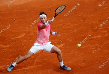Casper Ruud of Norway in action during his third round match against Pablo Carreno Busta of Spain at the Monte-Carlo Rolex Masters tournament in Roquebrune Cap Martin, France, 15 April 2021.