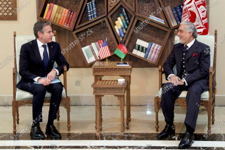 Abdullah Abdullah, Chairman of the High Council for National Reconciliation, right, meets with U.S. Secretary of State Antony Blinken, at the Sapidar Palace in Kabul, Afghanistan, . Blinken made an unannounced visit to Afghanistan on Thursday to sell Afghan leaders and a wary public on President Joe Biden's decision to withdraw all American troops from the country and end America's longest-running war
