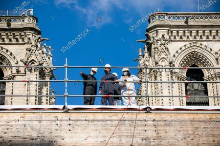 Editorial picture of Emmanuel Macron visits Notre Dame Cathedral, Paris, France - 15 Apr 2021