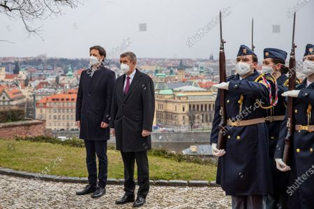 Czech Prime Minister Andrej Babis (2-L) and his Slovak counterpart Eduard Heger (L) pose for a photo during a welcome ceremony in Prague, Czech Republic, 15 April 2021. Heger is on an official visit to the Czech Republic.