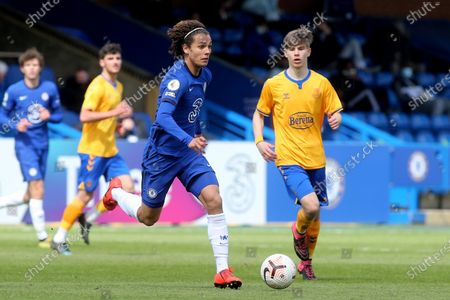 Stock Photo of Charlie Webster of Chelsea in action during Chelsea Under-18 vs Everton Under-18, FA Youth Cup Football at Kingsmeadow on 15th April 2021