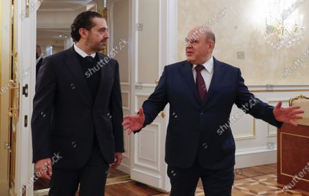 Russian Prime Minister Mikhail Mishustin (R) and Lebanese Prime Minister Saad Hariri (L), during a meeting at the House of the Russian Government in Moscow, Russia, 15 April 2021. Lebanese Prime Minister is on a working visit in Moscow.