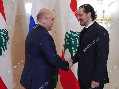 Russian Prime Minister Mikhail Mishustin (L) and Lebanese Prime Minister Saad Hariri (R) during a meeting at the House of the Russian Government in Moscow, Russia, 15 April 2021. Lebanese Prime Minister is on a working visit in Moscow.