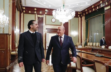 Stock Photo of Russian Prime Minister Mikhail Mishustin (R) and Lebanese Prime Minister Saad Hariri (L), during a meeting at the House of the Russian Government in Moscow, Russia, 15 April 2021. Lebanese Prime Minister is on a working visit in Moscow.