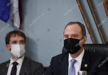 Chairman Adam Schiff, D-CA., prepares to open the session as the House Permanent Select Committee on Intelligence holds its annual World-Wide Threat Hearing at the U.S. Capitol in Washington DC, on Thursday, April 15, 2021. The committee will hear testimony about the current security threats that face the United States and its allies.