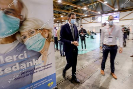 Prime Minister Alexander De Croo pictured during a visit to the vaccination village at the Brussels Expo exposition halls at the Heizel-Heysel site, Thursday 15 April 2021.
