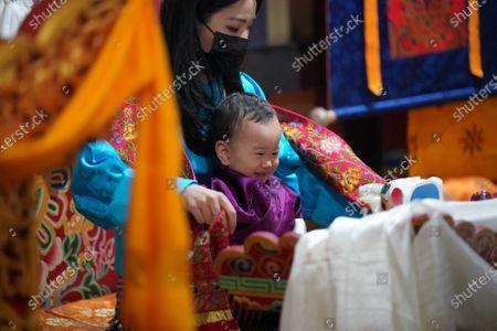 Her Majesty The Gyaltsuen with His Royal Highness Gyalsey Ugyen Wangchuck at the Mongar Dzong.