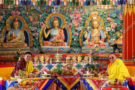 His Majesty The King with His Holiness the Je Khenpo at Namdroling Dratshang in Autsho, Lhuentse.