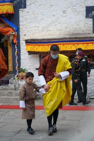 His Majesty The King and His Royal Highness Gyalsey Jigme Namgyel at the Mongar Dzong.