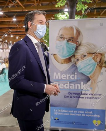Belgium's Prime Minister Alexander De Croo during a visit at the Covid-19 vaccination village set up in the Heysel site of the Brussels Expo exhibition halls, in Brussels, Belgium, 15 April 2021.