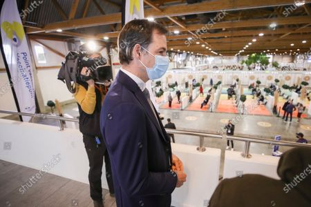 Belgium's Prime Minister Alexander De Croo visits at the Covid-19 vaccination village set up in the Heysel site of the Brussels Expo exhibition halls, in Brussels, Belgium, 15 April 2021.