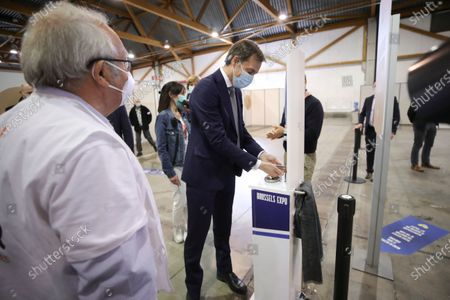 Editorial image of Alexander De Croo visits vaccination village setup, Brussels, Belgium - 15 Apr 2021