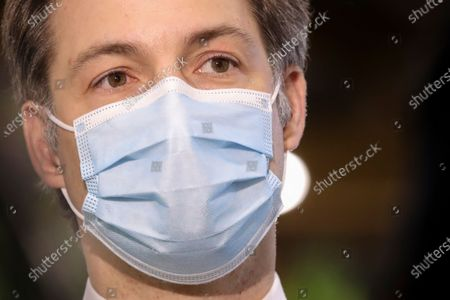 Stock Picture of Belgium's Prime Minister Alexander De Croo during a visit to the Covid-19 vaccination village setup in the Heysel site of the Brussels Expo exhibition halls in Brussels.